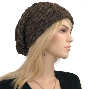Metallic Print Shawls with Buttons LC:HATSL - Brown Slouchy Knit Hat with Faux Fur Lining -