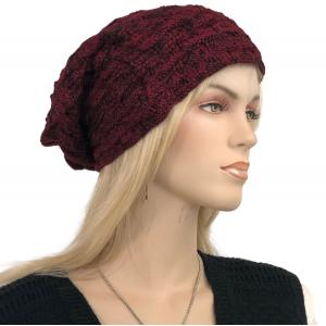 Metallic Print Shawls with Buttons LC:HATSL - Burgundy Slouchy Knit Hat with Faux Fur Lining -