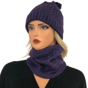 Metallic Print Shawls with Buttons LC:HSET Purple Hat and Neck Warmer Set w/Fur Lining -