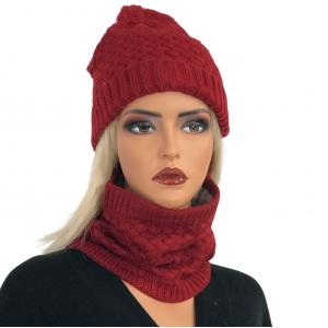 Metallic Print Shawls with Buttons LC:HSET Cranberry Hat and Neck Warmer Set w/Fur Lining -