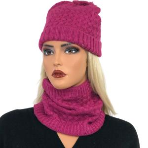 Metallic Print Shawls with Buttons LC:HSET Magenta Hat and Neck Warmer Set w/Fur Lining -