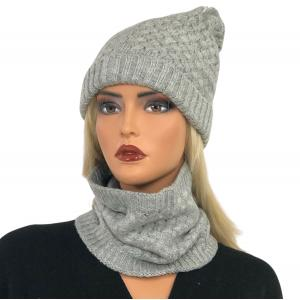 wholesale Knit Winter Hats LC:HSET Silver Hat and Neck Warmer Set w/Fur Lining -