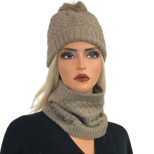 Metallic Print Shawls with Buttons LC:HSET Taupe Hat and Neck Warmer Set w/Fur Lining -