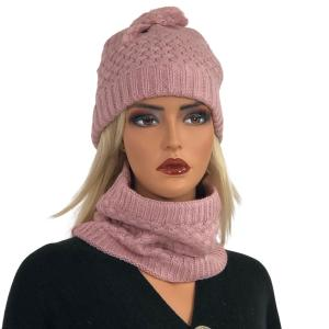 Metallic Print Shawls with Buttons LC:HSET Dusty Pink Hat and Neck Warmer Set w/Fur Lining -