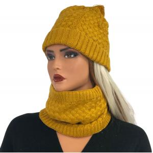 Metallic Print Shawls with Buttons LC:HSET Mustard Hat and Neck Warmer Set w/Fur Lining -