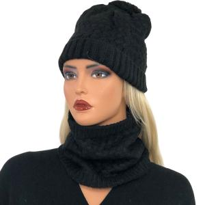 Metallic Print Shawls with Buttons LC:HSET Black Hat and Neck Warmer Set w/Fur Lining -