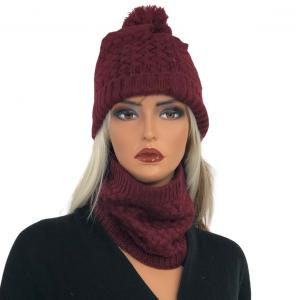 Metallic Print Shawls with Buttons LC:HSET Burgundy Hat and Neck Warmer Set w/Fur Lining -