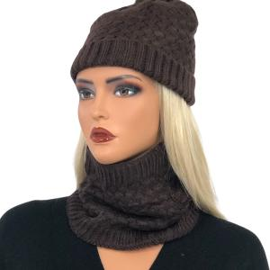 Metallic Print Shawls with Buttons LC:HSET Brown Hat and Neck Warmer Set w/Fur Lining -
