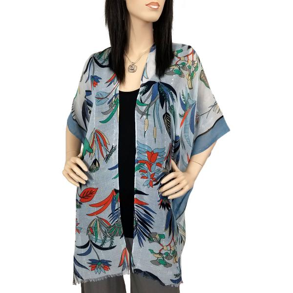 Kimono - Flower Design with Sequins 9151 Blue -
