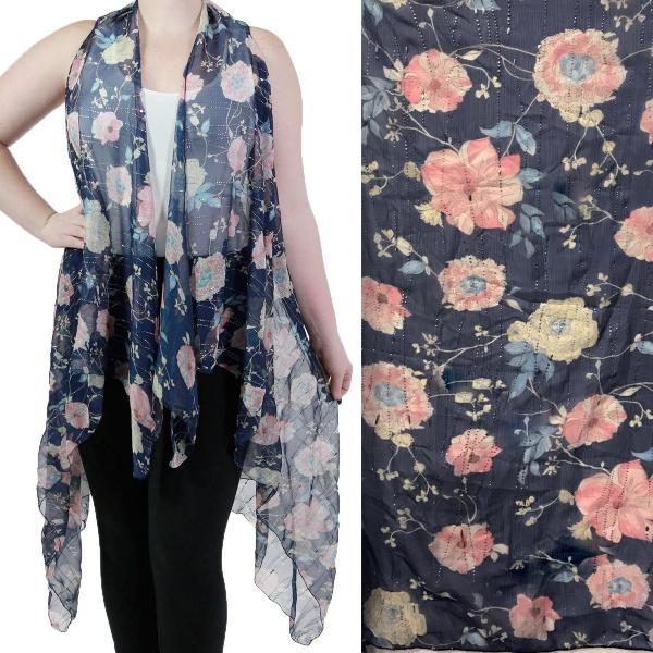 Vests - Floral with Textured Foil 9701 Blue Floral -