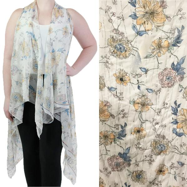 Vests - Floral with Textured Foil 9701 Off White Floral -