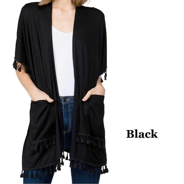 wholesale Kimono - Solid w/ Tassels & Pockets 9771 Black -
