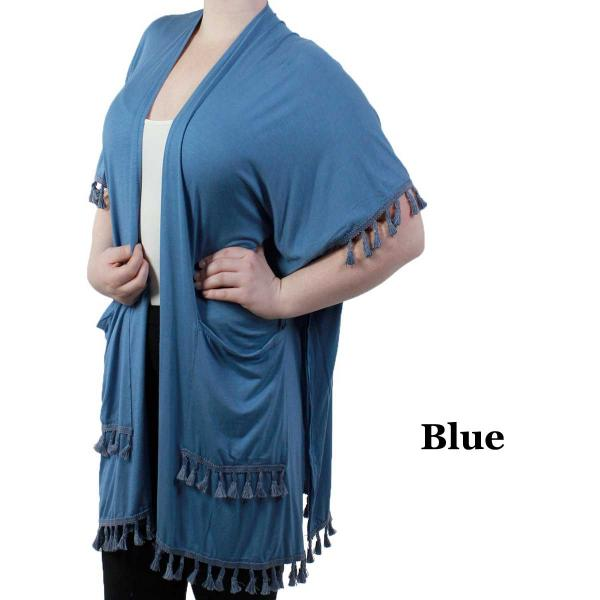 wholesale Kimono - Solid w/ Tassels & Pockets 9771 Blue -