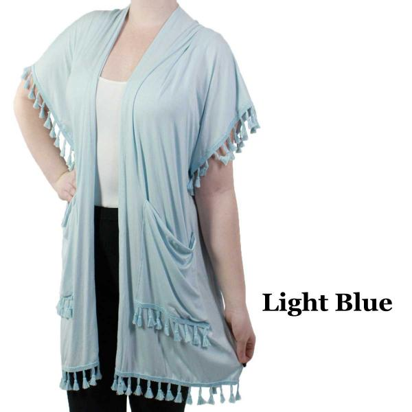 wholesale Kimono - Solid w/ Tassels & Pockets 9771 Light Blue -