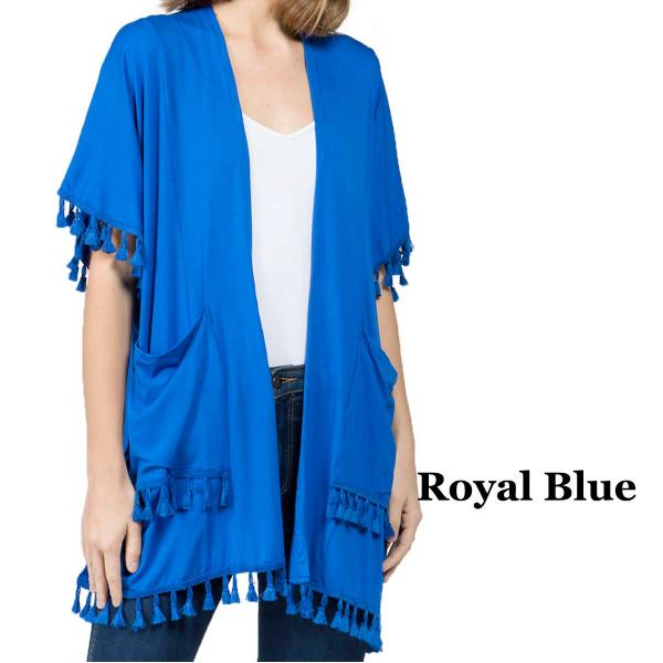 wholesale Kimono - Solid w/ Tassels & Pockets 9771 Royal Blue -