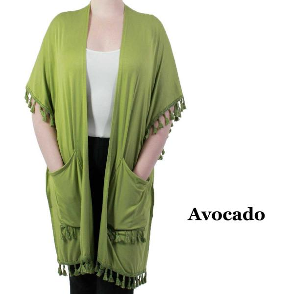 wholesale Kimono - Solid w/ Tassels & Pockets 9771 Avocado -