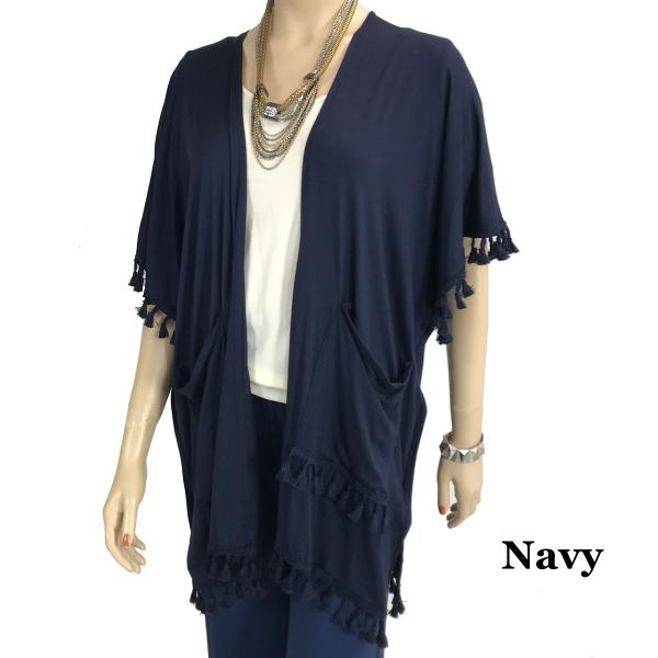 wholesale Kimono - Solid w/ Tassels & Pockets 9771 Navy (MB) -