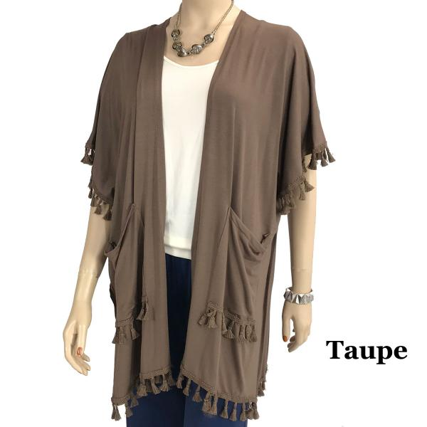 wholesale Kimono - Solid w/ Tassels & Pockets 9771 Taupe -