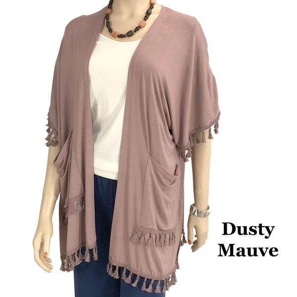 wholesale Kimono - Solid w/ Tassels & Pockets 9771 Dusty Mauve -