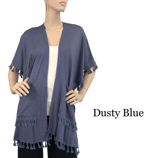 wholesale Kimono - Solid w/ Tassels & Pockets 9771 Dusty Blue -