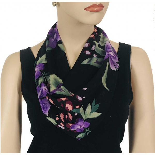 wholesale Magnetic Clasp Scarves (Georgette Triangle) Black-Purple Floral -