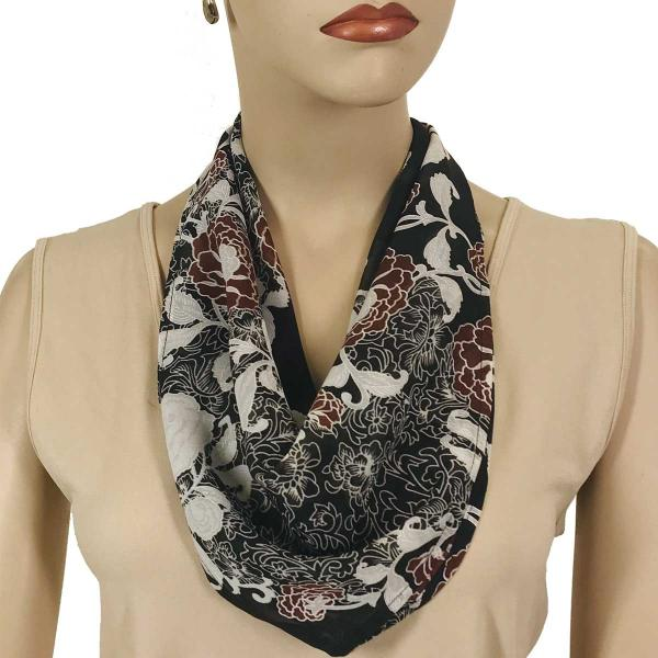 wholesale Magnetic Clasp Scarves (Georgette Triangle) Chocolate-Ivory Floral -
