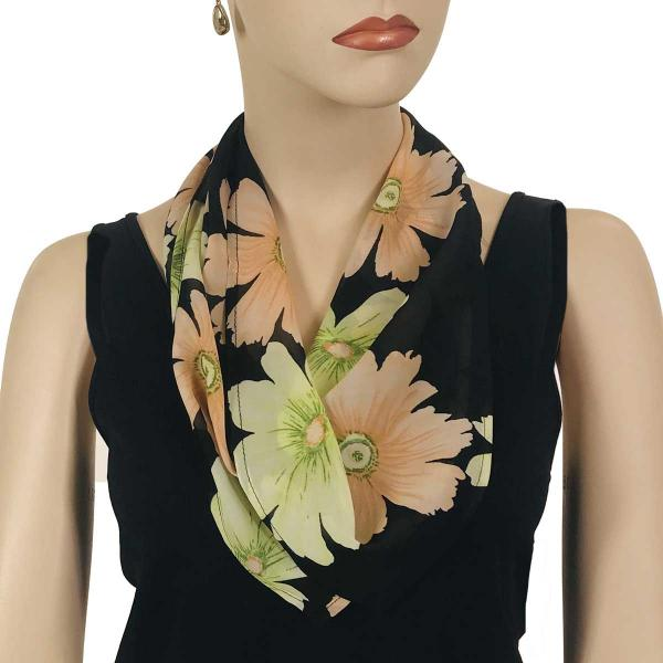 wholesale Magnetic Clasp Scarves (Georgette Triangle) Hibiscus Peach-Green -