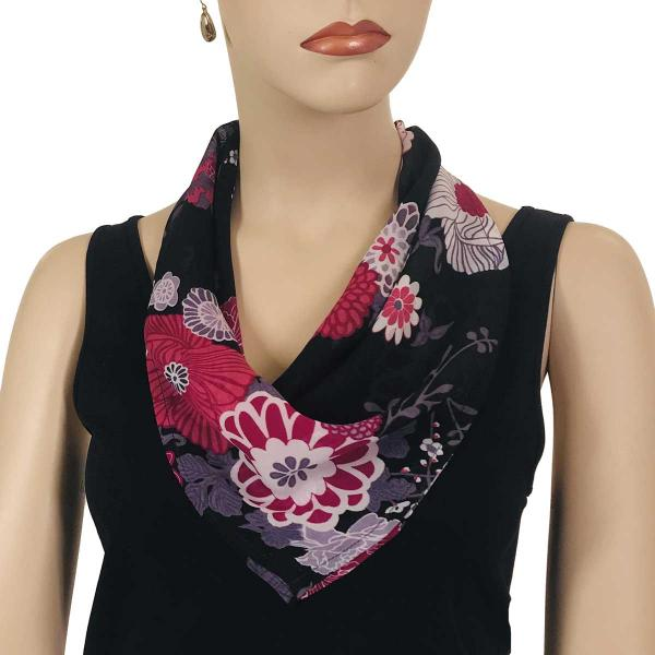 wholesale Magnetic Clasp Scarves (Georgette Triangle) Mums Pink-Black -