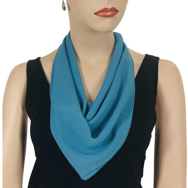 wholesale Magnetic Clasp Scarves (Georgette Triangle) Solid Aqua -