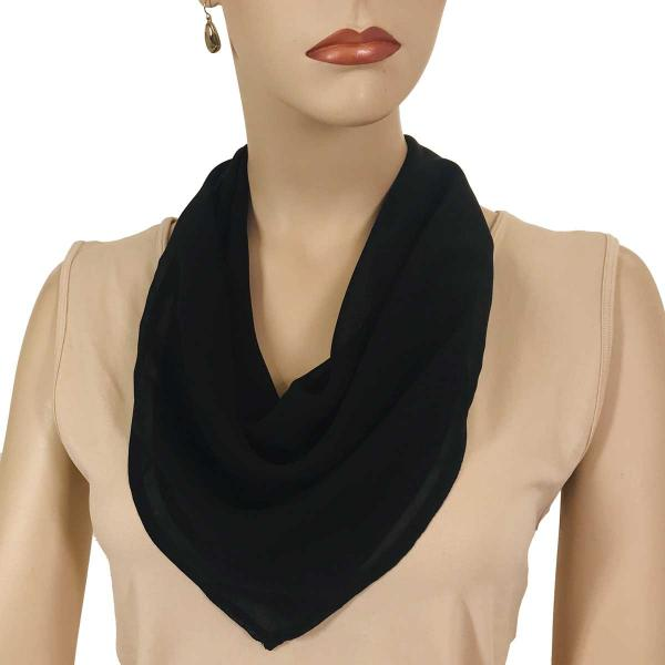 wholesale Magnetic Clasp Scarves (Georgette Triangle) Solid Black -