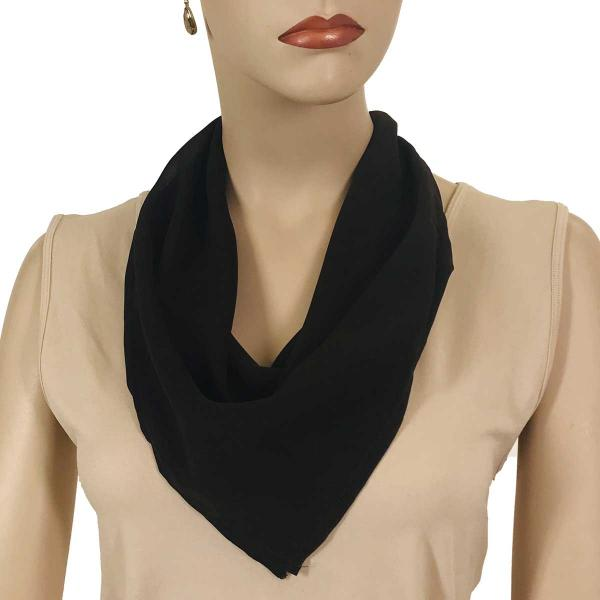 wholesale Magnetic Clasp Scarves (Georgette Triangle) Solid Dark Brown -