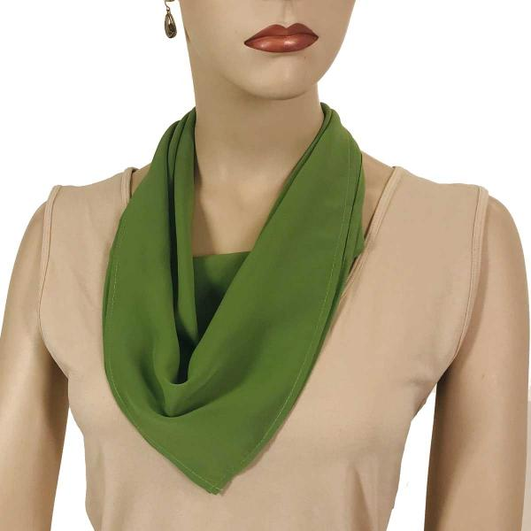 wholesale Magnetic Clasp Scarves (Georgette Triangle) Solid Green -