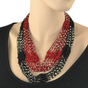 Shanghai Beaded with Magnetic Clasp (A.I.M.) #02 Black-Red w/ Silver Beads -
