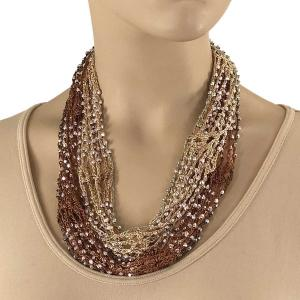 Shanghai Beaded with Magnetic Clasp (A.I.M.) #08 Chocolate Brown-Tan w/ Silver Beads -