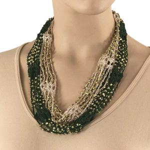 Shanghai Beaded with Magnetic Clasp (A.I.M.) #12 Light Beige-Moss Green w/ Gold Beads -