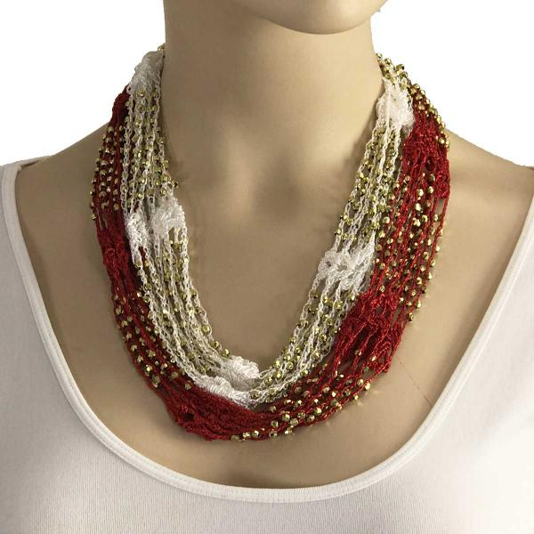 wholesale Shanghai Beaded with Magnetic Clasp (A.I.M.) #18 Red-White w/ Gold Beads -