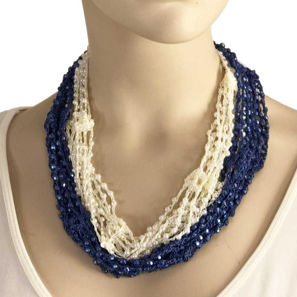wholesale Shanghai Beaded with Magnetic Clasp (A.I.M.) #20 Denim-Ivory w/ Pearls Shanghai Beaded with Magnetic Clasp -