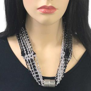 wholesale Shanghai Beaded with Magnetic Clasp (A.I.M.) #03 Black-Grey with Silver Beads Shanghai Beaded with Magnetic Clasp -