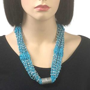 Shanghai Beaded with Magnetic Clasp (A.I.M.) #11 Turquoise with Silver Beads -