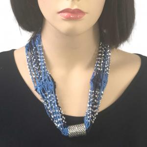 wholesale Shanghai Beaded with Magnetic Clasp (A.I.M.) #07 Powder Blue-Navy with Silver Beads -
