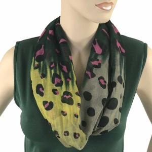 wholesale Magnetic Clasp Scarves (Cotton Touch) #12 Fantasy Leopard Spots Green-Pink-Yellow (Silver Clasp)* -
