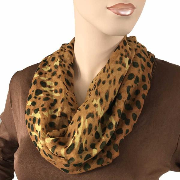 wholesale Magnetic Clasp Scarves (Cotton Touch) #32 Leopard Spots Copper-Gold (Bronze Clasp) -