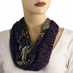 wholesale Magnetic Clasp Scarves (Cotton Touch) #06 Abstract Animal Print Purple-Brown (Silver Clasp) -