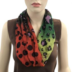 wholesale Magnetic Clasp Scarves (Cotton Touch) #11 Fantasy Leopard Spots Green-Orange-Yellow (Silver Clasp)* -
