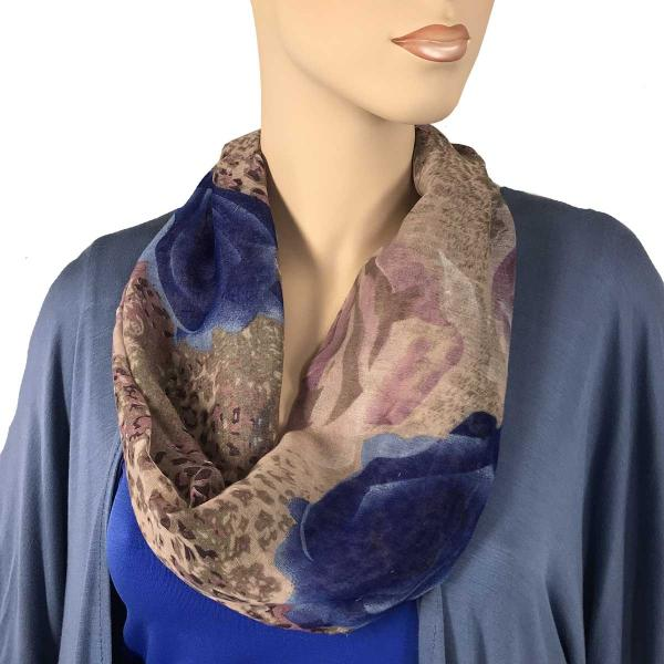 wholesale Magnetic Clasp Scarves (Cotton Touch) #31 Leopard & Roses Purple/Blue (Silver Clasp) -