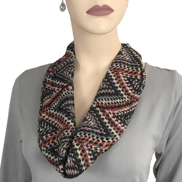 wholesale Magnetic Clasp Scarves (Cotton Touch) #23 Geometric Print Black -