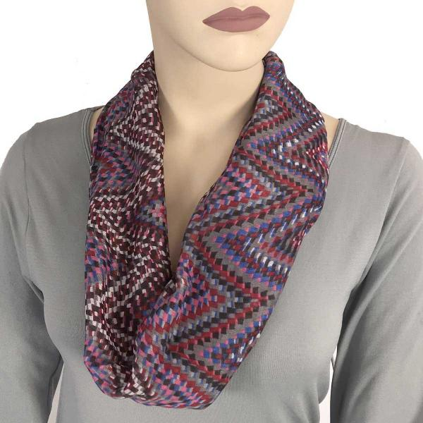 wholesale Magnetic Clasp Scarves (Cotton Touch) #26 Geometric Print Purple -