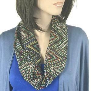 wholesale Magnetic Clasp Scarves (Cotton Touch) #24 Geometric Print Green -