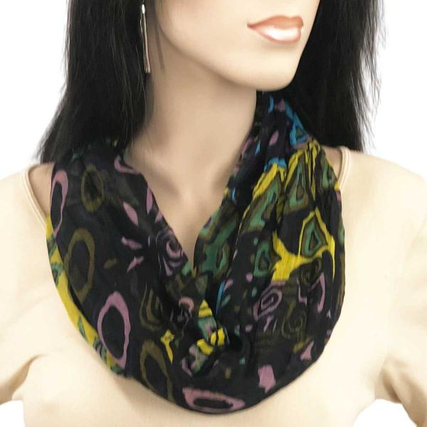 wholesale Magnetic Clasp Scarves (Cotton Touch) #08 African Abstract Black -