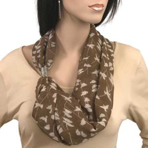 wholesale Magnetic Clasp Scarves (Cotton Touch) #09 Bird Print Brown -